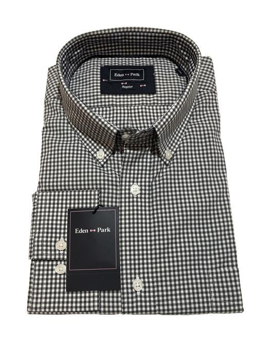 Eden Park<br />CLASSIC LONG SLEEVE GINGHAM CHECK SHIRT (CHARCOAL)