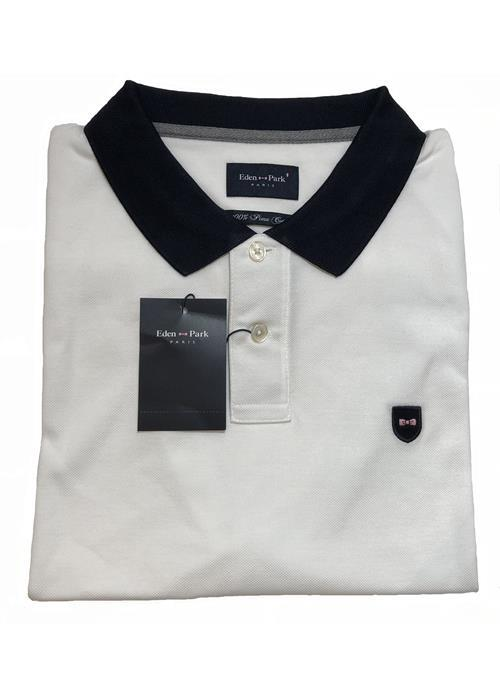 Eden Park<br />Plain Contrast Collar Polo (White/Navy)