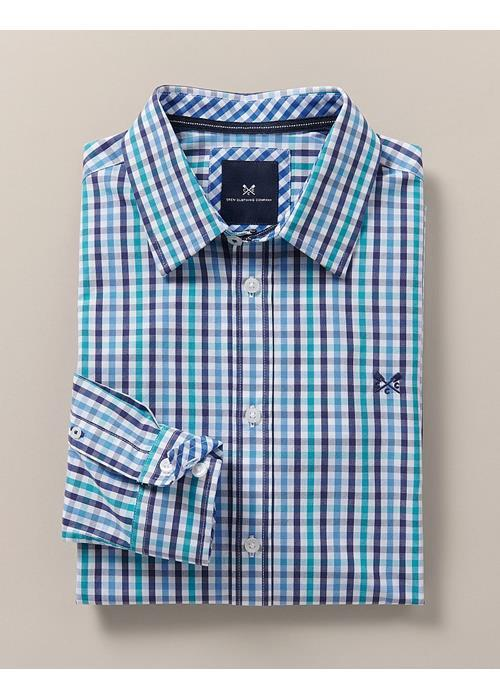 Crew Clothing<br />Long Sleeve Classic Fit Gingham Check Shirt (Blue)