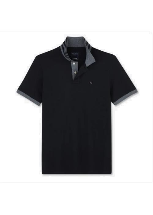 Eden Park<br />Regular fit cotton polo with contrasting accents (Black)