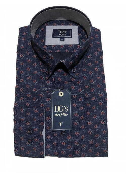 Douglas<br />LONG SLEEVE FLORAL PATTERNED SHIRT (NAVY/WINE)