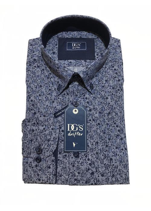 Douglas<br />LONG SLEEVE PATTERNED SHIRT (MID BLUE / NAVY)
