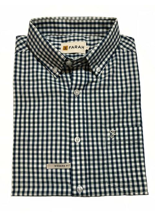 Farah<br />RITCHIE GINGHAM CHECK COTTON-POLY SHORT SLEEVED SHIRT (NAVY)