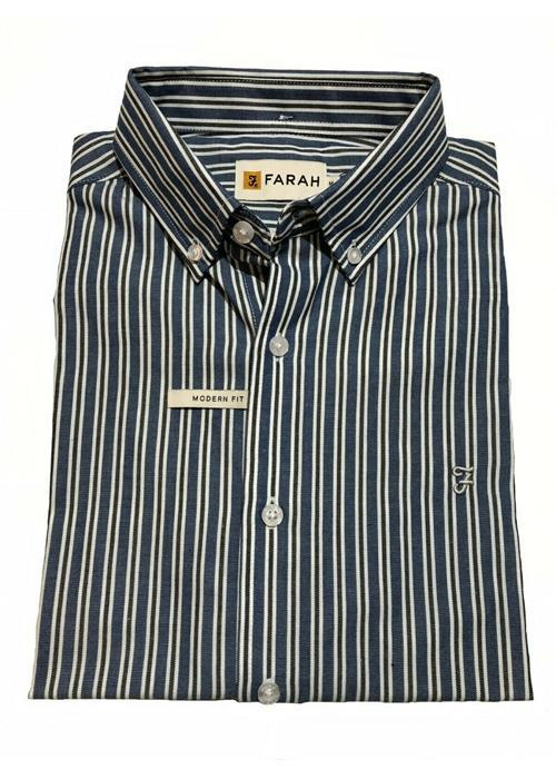 Farah<br />DION STRIPE POLY-COTTON SHORT SLEEVED SHIRT (BLUE/WHITE)