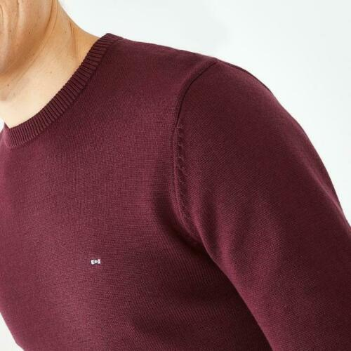 round-neck cotton sweater (wine)