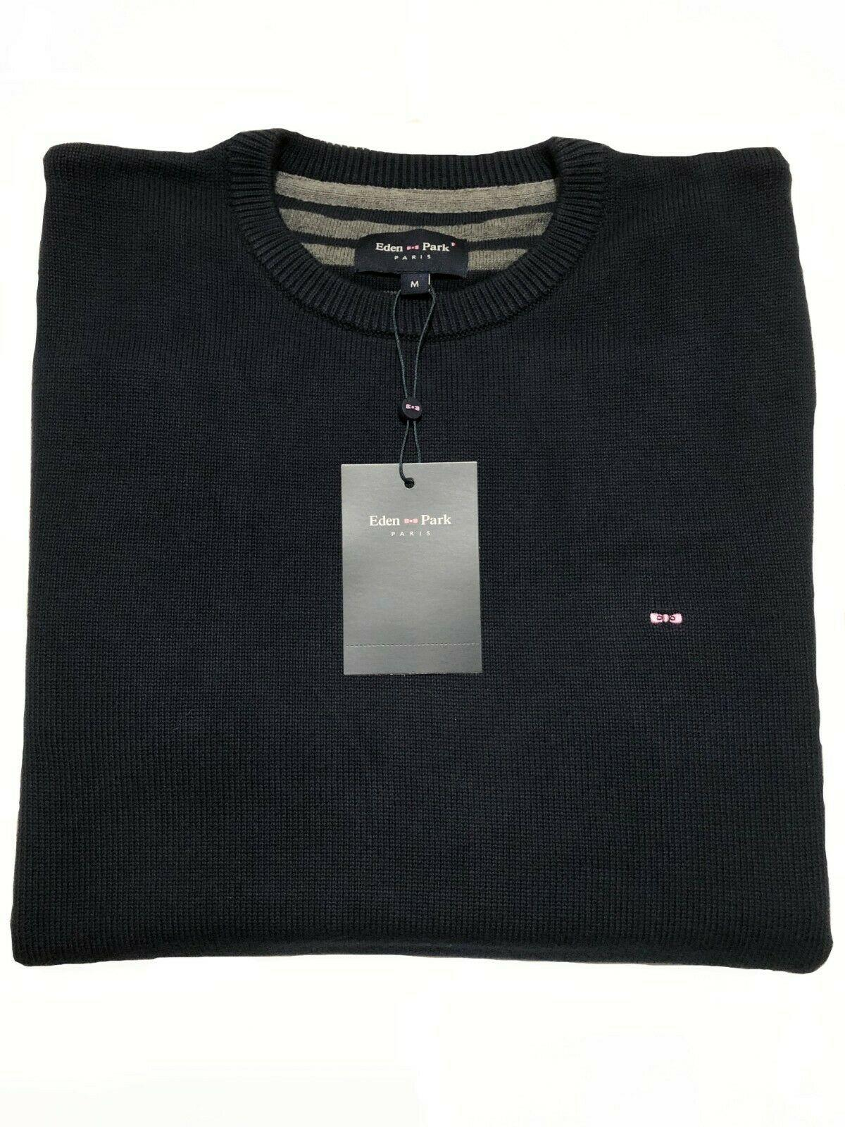 round-neck cotton sweater (navy)
