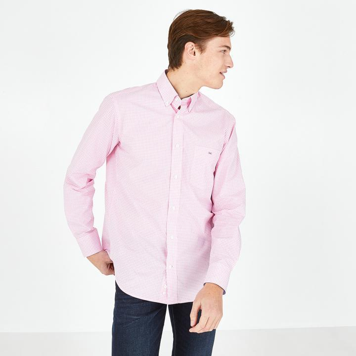 pink gingham check cotton shirt (pink)