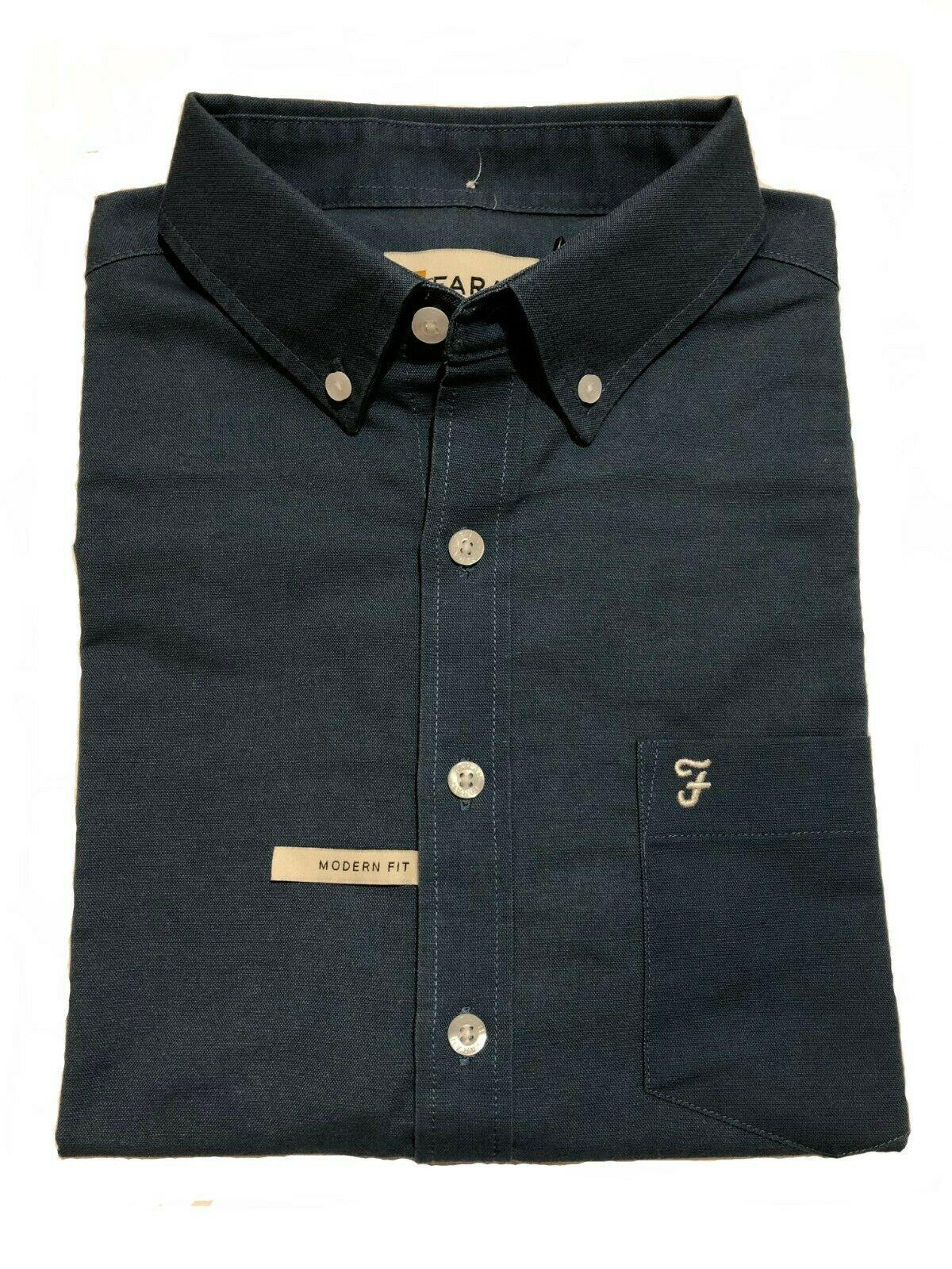 drayton plain polycotton short sleeved shirt (navy blue)