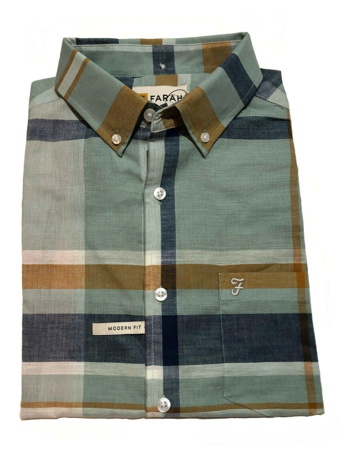 faron ss check 100% cotton short sleeved shirt (pastel green)
